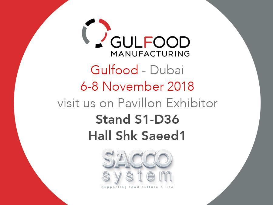 Sacco System will be at Gulfood Manufacturing, Dubai, 6-8th of November