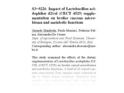 Effects of the dietary supplementation of Lactobacillus acidophilus 1